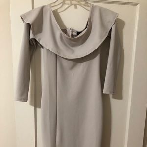 Misguided light gray off shoulder midi dress